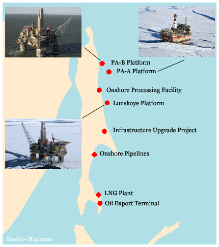 Sakhalin Oil Gas Rigs map