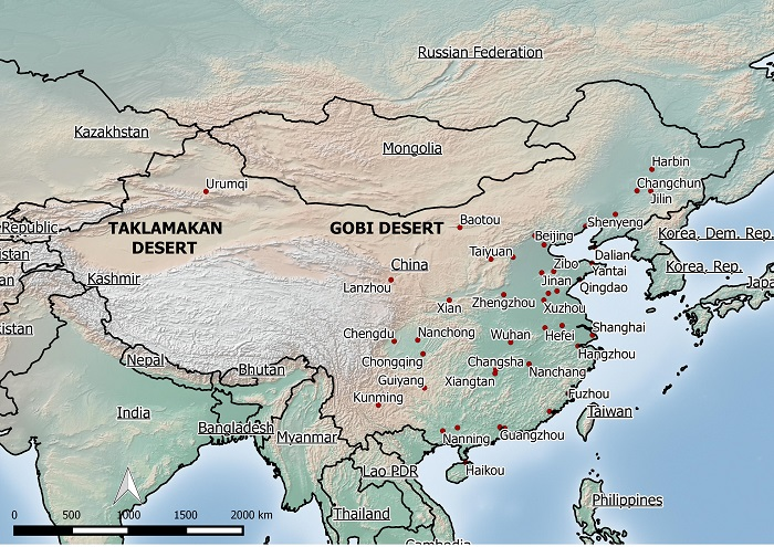 China's Gobi and Taklamakan deserts