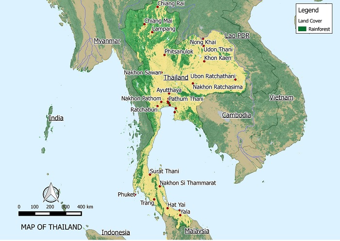 RAINFOREST IN THAILAND MAP zoomed 700