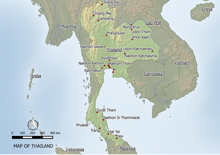 free map of Thailand