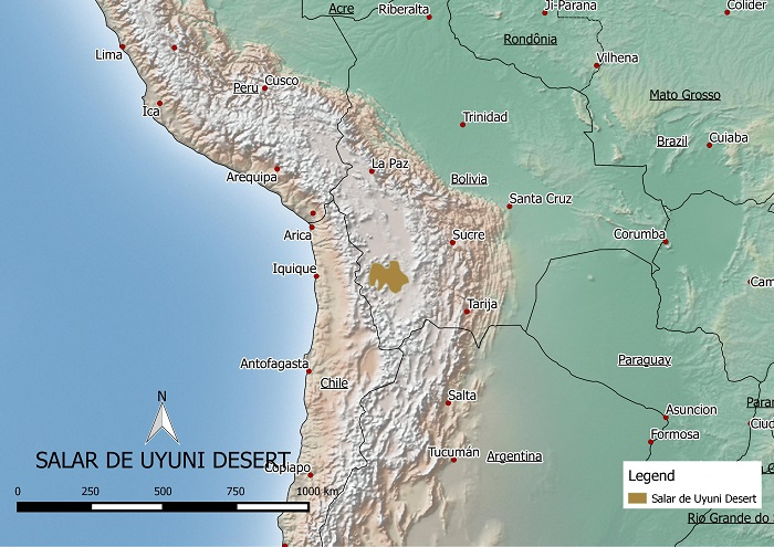 Salar de Uyuni in Bolivia map