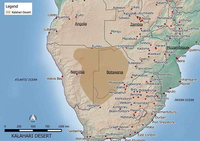 KALAHARI DESERT MAP