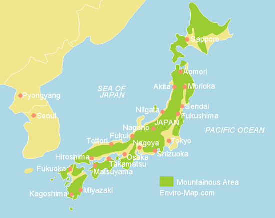 Mountains In Japan Map