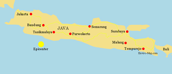 map of java. Java, Indonesia Earthquake Map