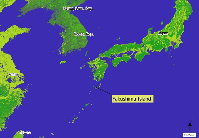 location map of Yakushima island