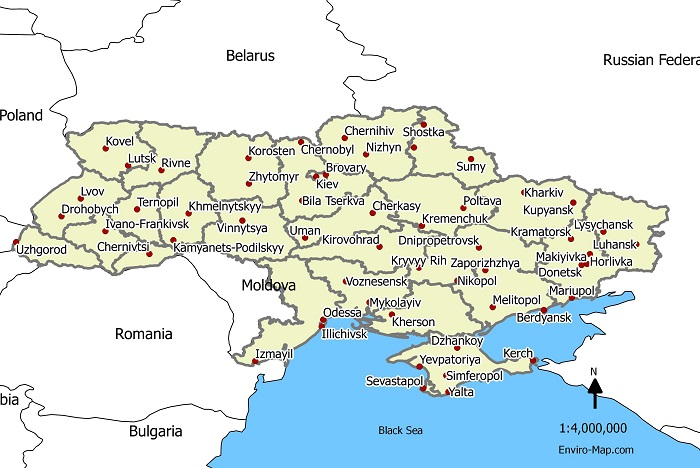 Ukraine cities map