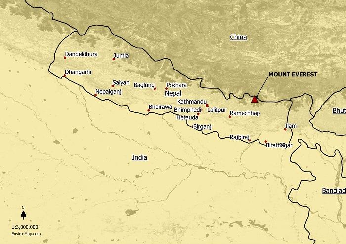 Mt Everest location map
