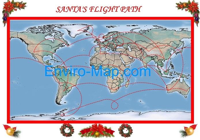 Santa flight path Christmas map