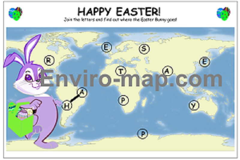 Easter bunny world map