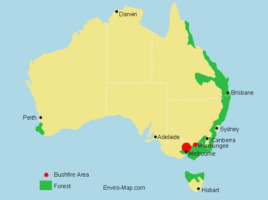 Victoria bushfire map