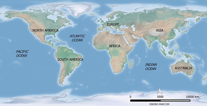 Free map of the world with ocean and continents