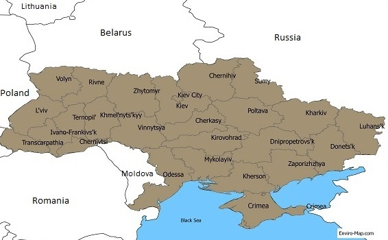 Ukraine regions map